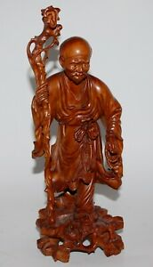 Fine Large Chinese Wood Carving. Man with Staff. @12quot;. $95.00