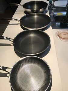 Hexclas 4 Piece Pans With Signs Of Used Scratches 8' 10' 12w and12#x27; No Lids $120.00