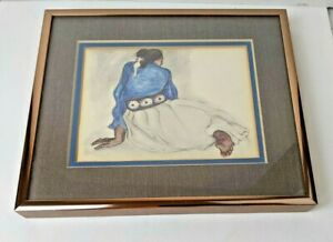 """RC GORMAN """"WOMAN with CONCHOS"""" Lithograph Double Matted amp; Framed 6.5quot; by 8quot; $49.00"""