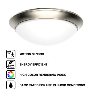 11 13 Motion Sensor LED Flush Mount Ceiling Light Brushed Nickel 4000K Cool