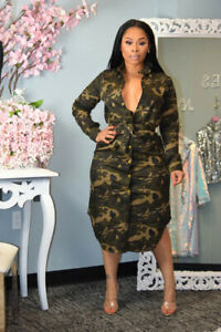 New fashion ladies casual camouflage plus size dress