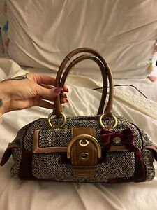 Gray Coach Purse With Bow