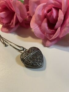 Gorgeous Antique Victorian Sterling Silver Repousse Puffy heart Poison Locket $39.99