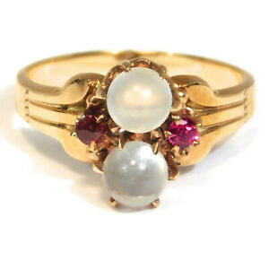 VICTORIAN 10K ROSE GOLD MOONSTONE DOUBLE ORB RING 1880 $249.00