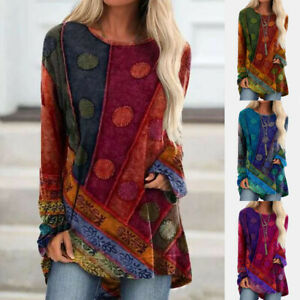 Women Casual Vintage Print Crew Neck T Shirt Long Sleeve Loose Tunic Blouse Tops $16.65