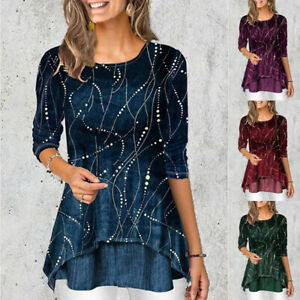 Womens Fashion Crew Neck 3 4 sleeve Print T Shirt Loose Tunic Casual Blouse Tops $14.44