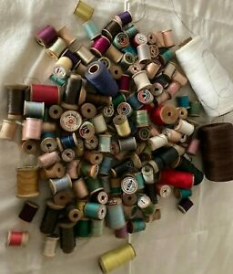 Wooden Sewing WOOD Thread Spools Vintage Lot over 100 small 20 large plus $40.99