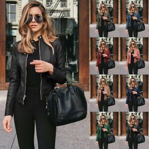 Womens Casual Long Sleeve Solid Leather Coat Zipper Slim Windproof Suit Jacket $15.04