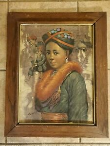 1979 MAITREE JUNTAROOPAMI ORIGINAL SIGNED AFRICAN QUEEN LEAF OIL PAINTING $109.99