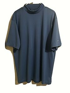 Nike Golf MENS XL Blue Athletic Shirt Nike Dry Fit Shirt Sleeve High Neckline $10.00