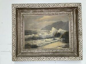 BEAUTIFUL ROBERT WEE NICELY FRAMED SEASCAPE OIL PAINTING $249.00
