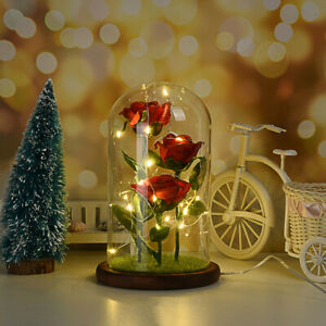 Crystal Colorful Rose Flower In the Glass Dome LED Light Gift for Girlfriend Mom $24.02