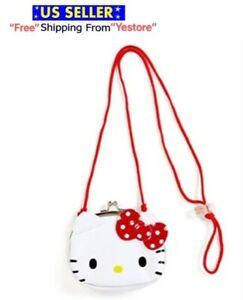 JAPAN SANRIO Hello Kitty Cat Special Smile Leather Coin Pouch Bag Purse w Strape