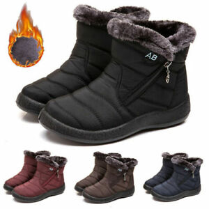Womens Boots Fur Lined Snow Ankle Boots Ladies Winter Warm Waterproof Flat Shoes $27.98