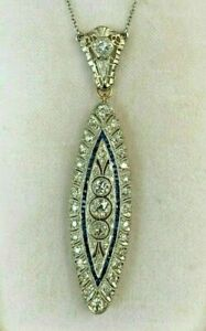Incredible Engagement Wedding Victorian Pendant 3 Ct Diamond 14K White Gold Over $213.87