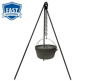 Tripod Camping Outdoor Cooking Campfire Picnic Pot Cast Iron Fire Grill Oven New