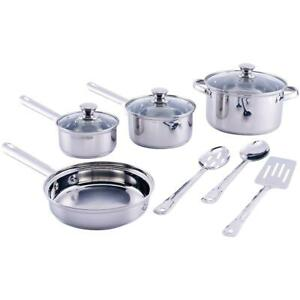 Cookware Set Non Stick Stainless Steel 10 Piece Pieces Pots and Pans NEW $26.34