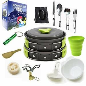 Camping Cookware Mess Kit Gear with Folding Stove Backpack Cooking Small Green $32.84