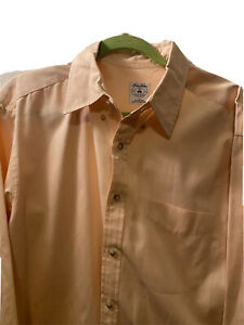 Brooks Brothers Sport Shirt Solid Peach Large Cotton EUC $14.00