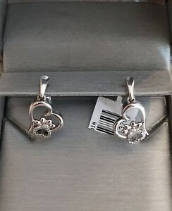 NWT SS Open Heart HEART SHAPED PAW PRINT Diamond Accent Earrings ZALES 🐾 KAY $149.99