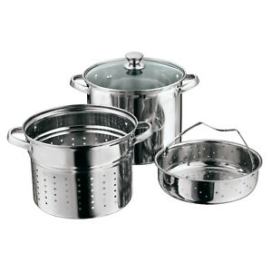 Pasta Cooker Steam Pot Stainless Steel Steamer 8 Qt Multi Cooker Noodles 4 Pcs