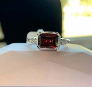 2.00 Ct Emerald Red Ruby 14K White Gold Over Bezel Set Solitaire Engagement Ring