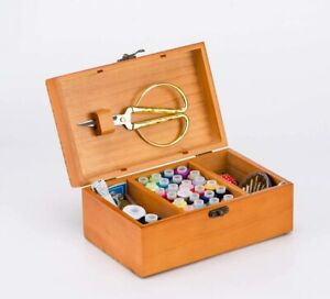 A.Dinsenen Wooden Sewing Basket With Sewing Kit AccessoriesSewing Box $22.85