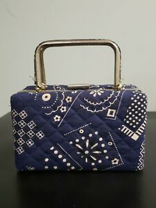 Rare Vtg Quilted Box Hand Bag Blue And White Preowned $59.99