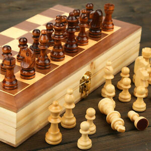 CHESS Set Wooden Pieces with Foldable Board Classic Game $15.97