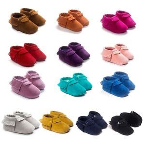 Kids Baby Shoes PU Suede Leather Newborn Boys Girls Soft Shoes First Walkers $5.55