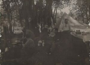 Men Tent Camping in the Woods Hobo Antique Photo Lantern Camp Site