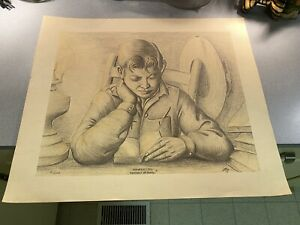 BEAUTIFUL VINTAGE WILLARD STONE Large Numbered print lithograph Midnight Oil $99.00