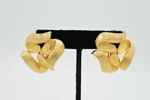 VO Vogue Les Bernard Signed True Vintage Statement Earrings Clip On Gold 80s 9G $29.62