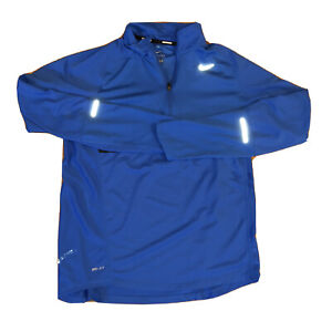 Nike Running Dri fit Pull Over Bright Blue Reflective 1 4 Zip Mens Size Medium $23.00