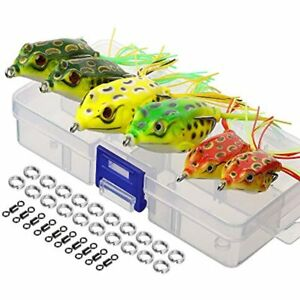 DONQL Topwater Frog Lures Artificial Fishing Kit With Tackle Box Bass Dogfish
