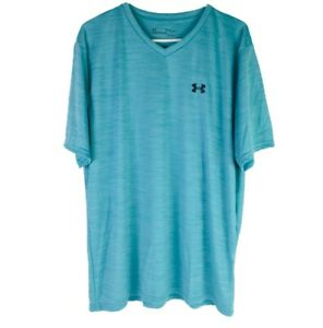 Under Armour Loose Heatgear Mens V Neck Short Sleeve Shirt Size XL Blue New $16.99