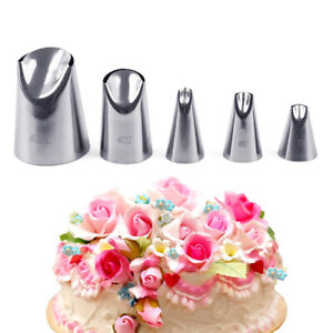 5pcs Petal Stainless Steel Icing Piping Nozzle Cream Tips Cake Cream Pastry Csh $3.03