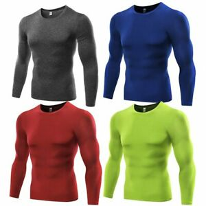 Men#x27;s Sports Gym Tops T Shirt Long Sleeve Quick Dry Under Base Layer Compression
