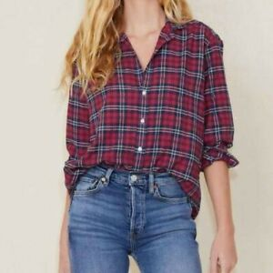 Frank Eileen Cotton Plaid Oversized Button Shirt $45.00