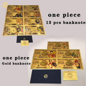 13pcs set Japanese Anime one piece Gold Banknote Collectible Cards For Nice Gift