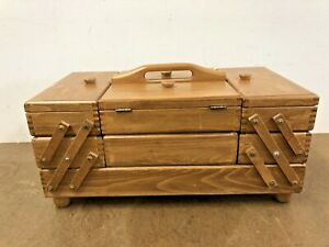 Vintage ACCORDION SEWING BOX Storage mid century modern basket folding wood case $109.99