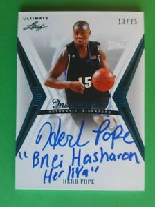 2012 13 LEAF ULTIMATE BASKETBALL HERB POPE #BA HP1 INSCRIPTIONS AUTO #13 25 $14.99