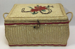 Vintage Straw Raffia Wicker Woven Large Sewing Basket Box Handles Lid amp;Contents $20.50