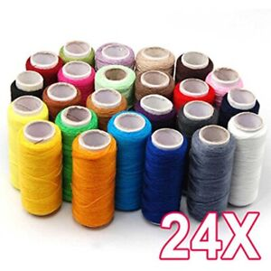24 Colorful Colors 100% Assorted Cotton Polyester Spools Reel of Sewing Thread $8.99