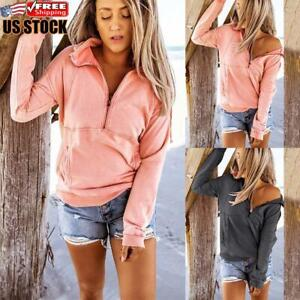 Womens Solid Long Sleeve Jumper Ladies Casual Front Zip Sweater Pullover Tops $20.19