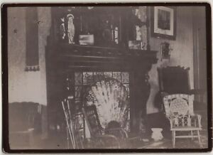 Victorian Home Interior Fireplace Painted Tiles Chairs Vintage Photo Clock $9.95