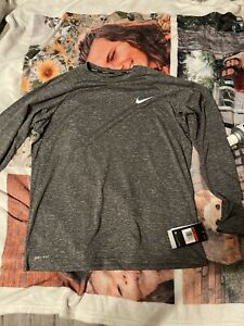 Nike Mens Swim Dry Fit Shirt Long Sleeve Grey L $35.00