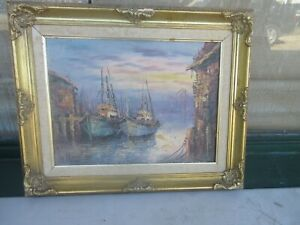 Original Signed Oil Painting  15.5quot; x 12quot; Sailing Boats Help With Signature  $49.99