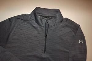 UNDER ARMOUR XL LOOSE MENS LIGHTWEIGHT Jacket 1 4 ZIP GRAY STRIPED T194 $18.49