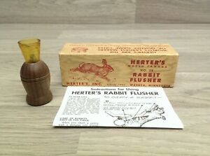 Vintage #39 Rabbit Flusher Call Herter#x27;s Inc Original Box amp; Instruction Manual